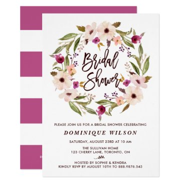 misstallulah Whimsical Bohemian Floral Wreath Bridal Shower Card