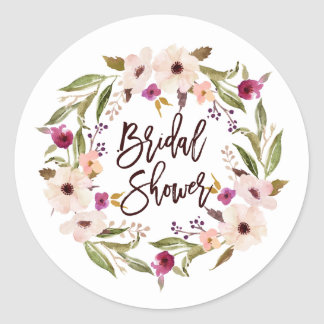 Whimsical Bohemian Floral Wreath Bridal Shower Classic Round Sticker