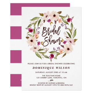 Whimsical Bohemian Floral Wreath Bridal Shower Invitation