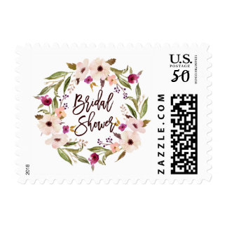 Whimsical Bohemian Floral Wreath Bridal Shower Postage