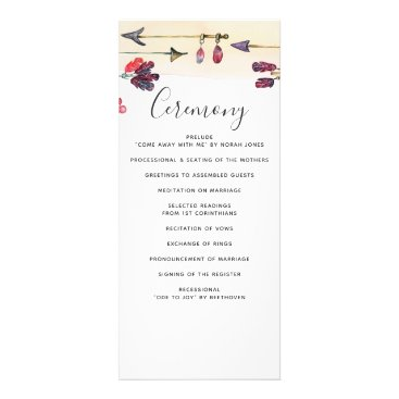 Whimsical Bohemian free spirit wedding programs