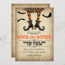 Whimsical Boos and Booze Halloween Party Invitation