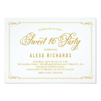Whimsical Border and Script | Gold Sweet Sixteen Card