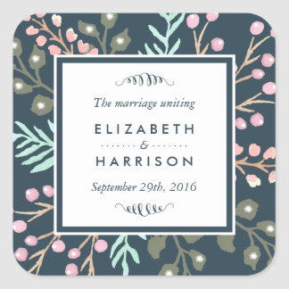 Whimsical Botanical Berry Wedding Favor Square Sticker