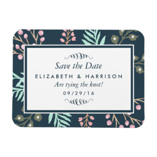 Whimsical Botanical Berry Wedding Save The Date Magnet