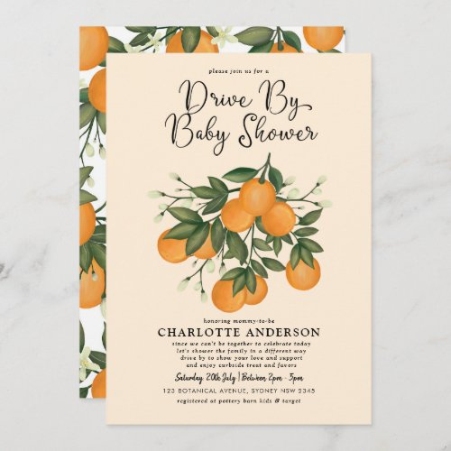 Whimsical Botanical Citrus Drive By Baby Shower Invitation