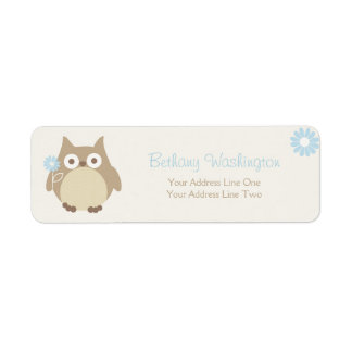 Whimsical Boy Owl Baby Shower Label