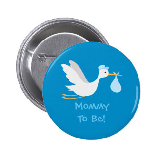 Whimsical Boy Stork Baby Shower Button