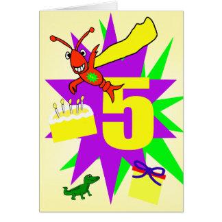 Whimsical Boy's 5th Birthday Card