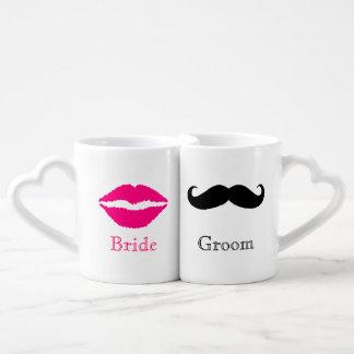 Whimsical Bride and Groom Mug Set