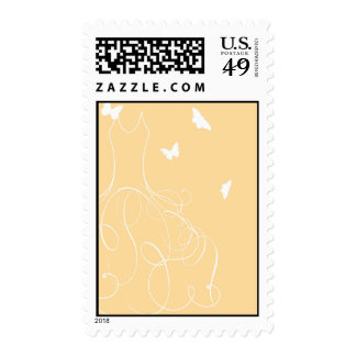 Whimsical  Bride Butterfly Yellow Stamps
