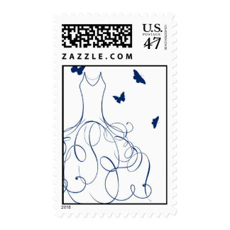Whimsical Bride Navy Royal Blue on White Postage