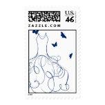 Whimsical Bride Navy Royal Blue on White Postage Stamp