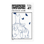 Whimsical Bride Navy Royal Blue on White Postage Stamp