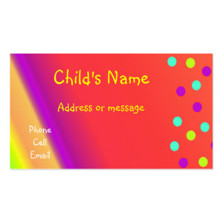 Whimsical Bright Children's Calling Card Double-Sided Standard Business Cards (Pack Of 100)
