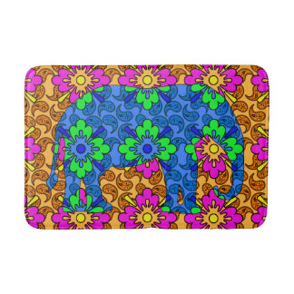 Whimsical Bright Colorful Paisley Elephant Cute Bath Mat