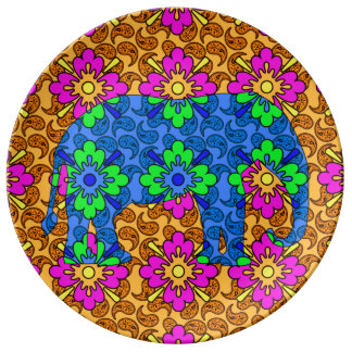 Whimsical Bright Colorful Paisley Elephant Cute Dinner Plate