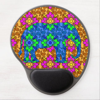 Whimsical Bright Colorful Paisley Elephant Cute Gel Mouse Pad