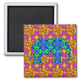 Whimsical Bright Colorful Paisley Elephant Magnet