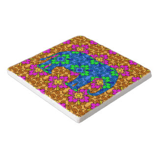 Whimsical Bright Colorful Paisley Elephant Trivet