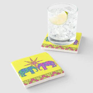 Whimsical Bright Colorful Paisley Elephants Yellow Stone Coaster