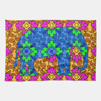 Whimsical Bright Colorful Paisley Pattern Elephant Hand Towel