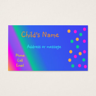 Whimsical Bright Colors Children's Calling Card