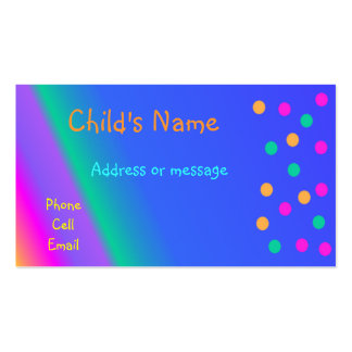 Whimsical Bright Colors Children's Calling Card Double-Sided Standard Business Cards (Pack Of 100)