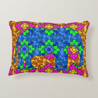 Whimsical Bright Paisley Colorful Elephant Accent Pillow