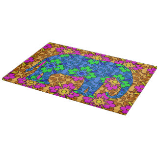 Whimsical Bright Paisley Colorful Elephant Cutting Board