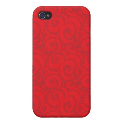 whimsical bright red pattern iPhone 4/4S cases