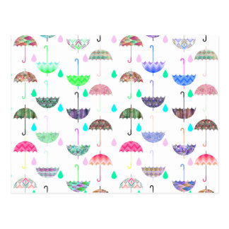 Whimsical Bright Umbrella Modern Girly Patterns Postcard