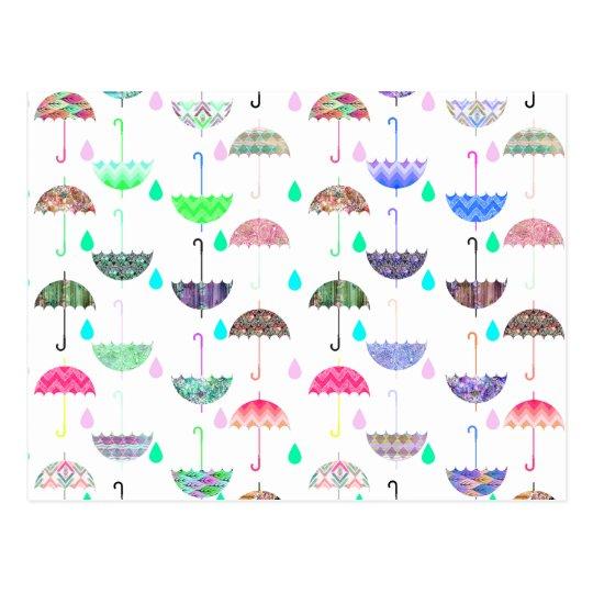 Whimsical Bright Umbrella Modern Girly Patterns Postcard