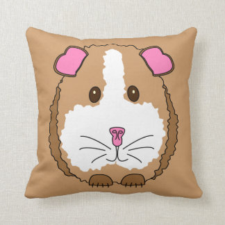 Whimsical Brown Guinea Pig Throw Pillow