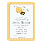 Whimsical Bumble Bee Polka Dots Baby Shower Card