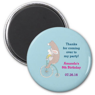 Whimsical Bunny and Bear Birthday Thank You Magnet