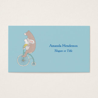 Whimsical Bunny and Bear Riding a Bike Business Card