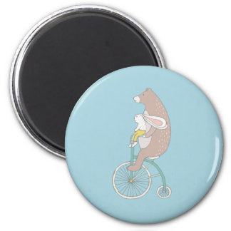 Whimsical Bunny and Bear Riding a Bike Magnet