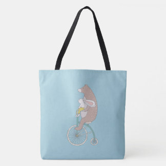 Whimsical Bunny and Bear Riding a Bike Tote Bag