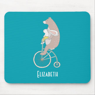 Whimsical Bunny and Bear Riding Together Mouse Pad