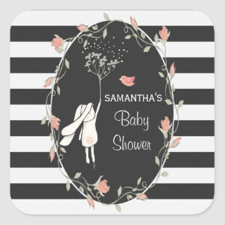 Whimsical Bunny and Birdy Square Sticker