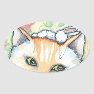Whimsical Bunny and Cat Stickers