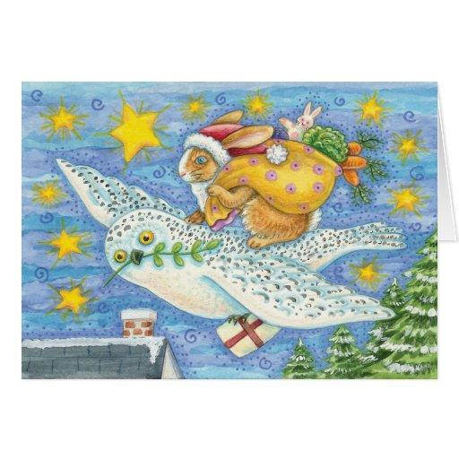 Whimsical Bunny Christmas Card