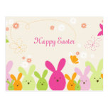 Whimsical bunny & flowers happy easter postcard