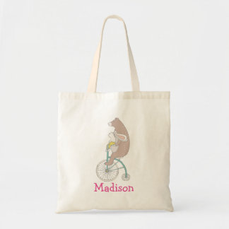 Whimsical Bunny 'n Bear Riding a Bike Personalized Tote Bag