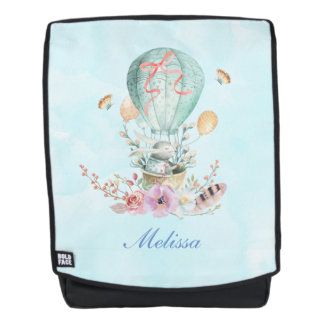 Whimsical Bunny Riding in a Hot Air Balloon Backpack