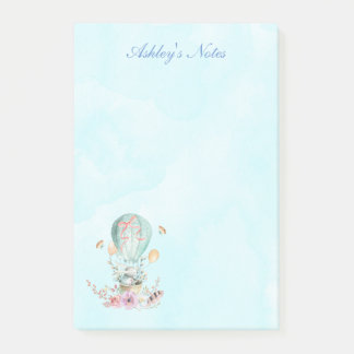 Whimsical Bunny Riding in a Hot Air Balloon Custom Post-it Notes