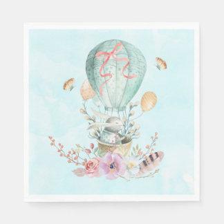 Whimsical Bunny Riding in a Hot Air Balloon Napkin