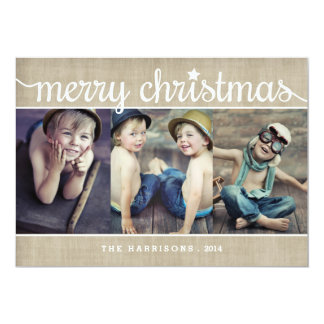 Whimsical Burlap Rustic Merry Christmas Photo Card