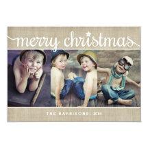 Whimsical Burlap Rustic Merry Christmas Photo Invitations